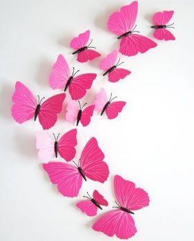 3D Vlinders Roze