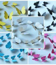 3D Vlinders Set 5 Kleuren