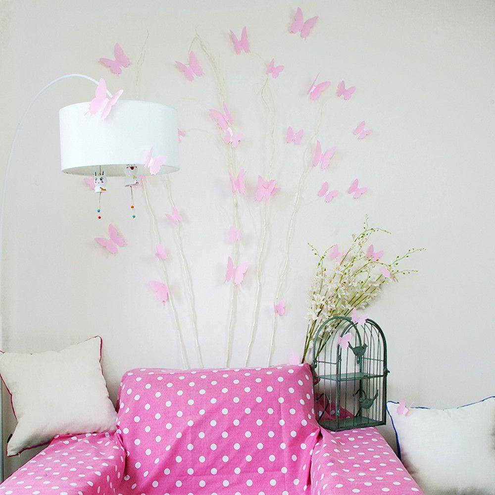 Effen 3D Vlinders Roze