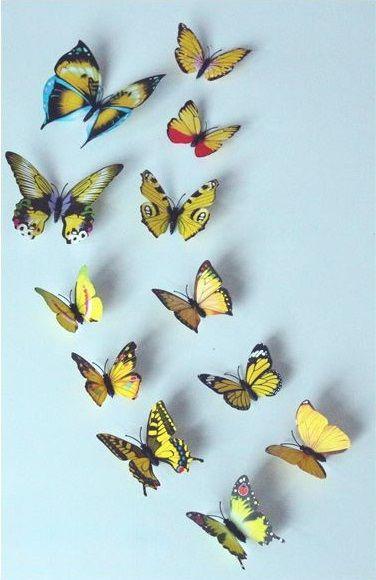 Kleurrijke 3D Vlinders Geel