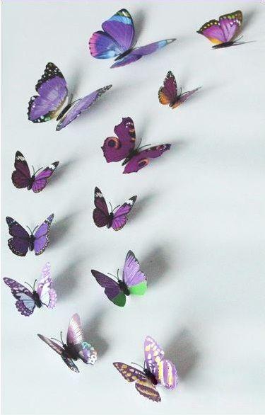 Kleurrijke 3D Vlinders Paars
