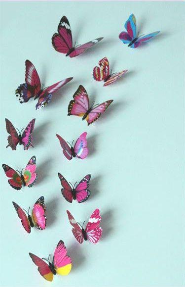 Kleurrijke 3D Vlinders Roze