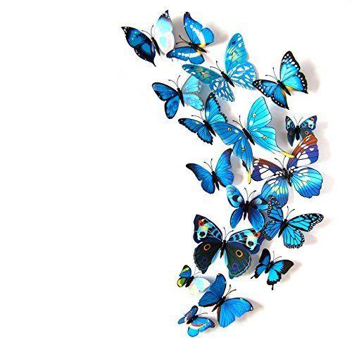 Kleurrijke Vlinders 3D Blauw