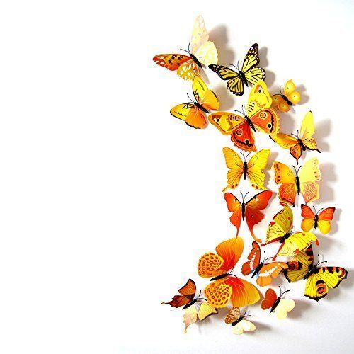 Kleurrijke Vlinders 3D Geel