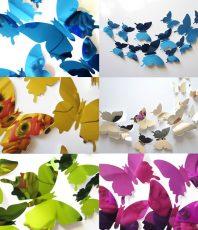 Spiegel 3D Vlinders Set 5 Kleuren