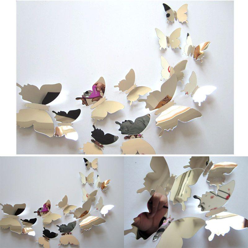 Spiegel 3D Vlinders Zilver