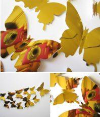 Spiegel 3D Vlinders Goud