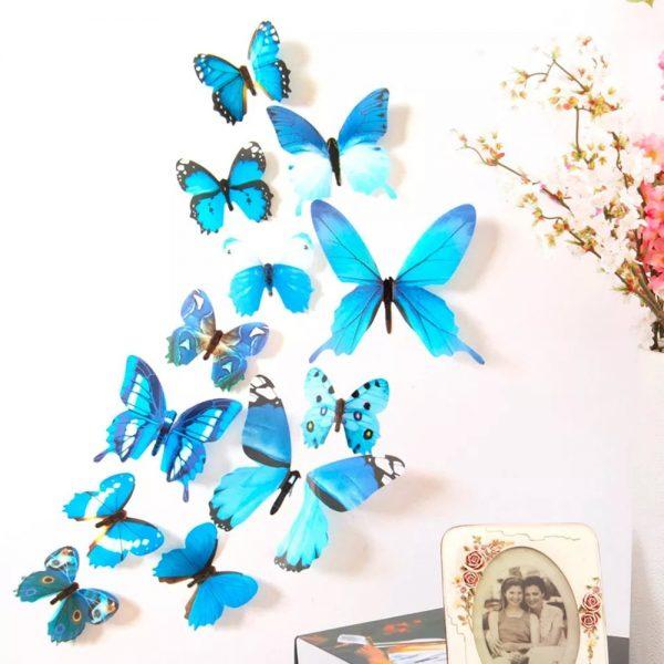 3D Vlinder Stickers Blauw