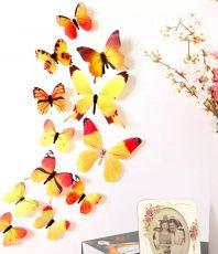 3D Vlinder Stickers Geel