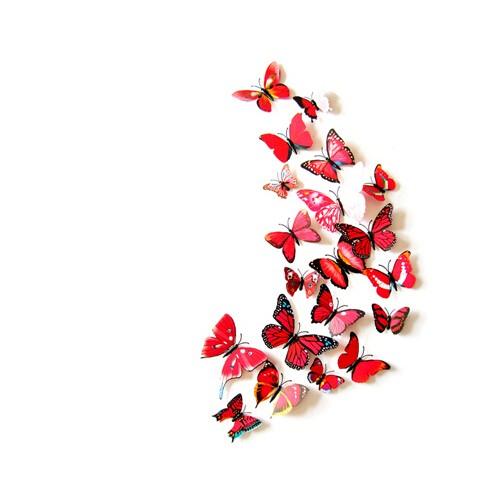 Kleurrijke Vlinders 3D Rood